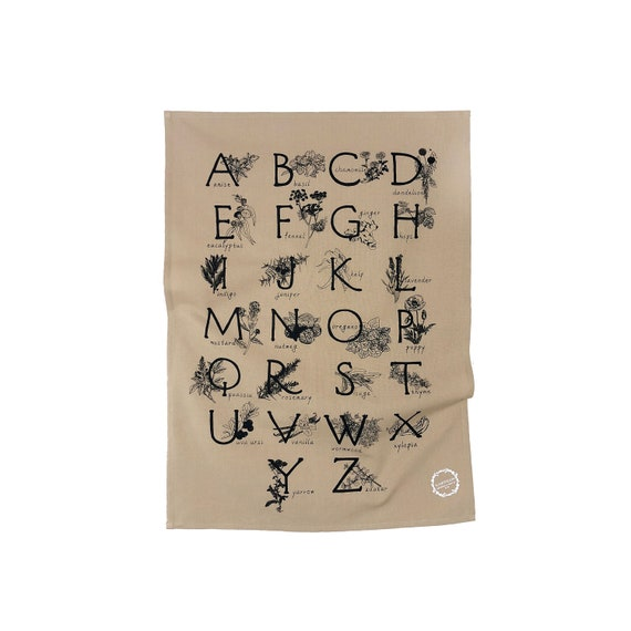 ABC HERBS & SPICES hand printed kitchen towel