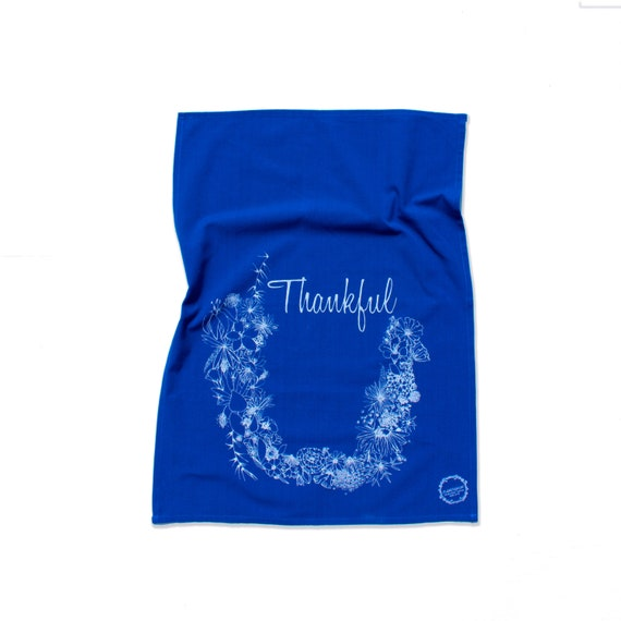 THANKFUL hand printed kitchen towel