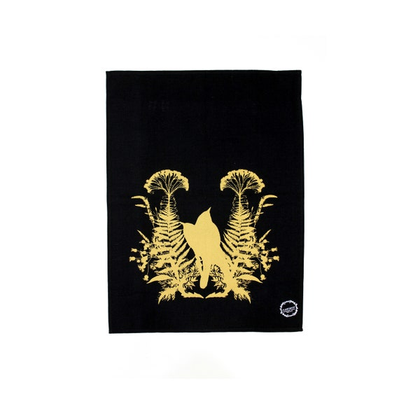 LOVE BIRDS  hand printed kitchen towel