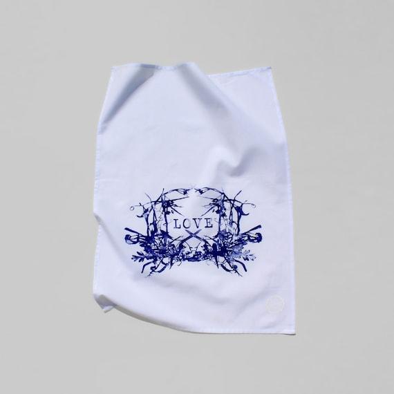 WILDFLOWERS LOVE  hand printed kitchen towel