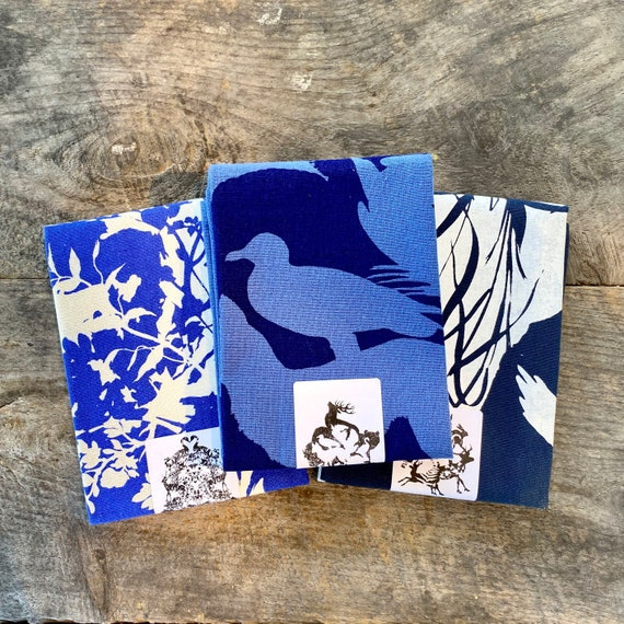 Woodland animals + eastern wildlife +  paper-cuts hand printed kitchen towels