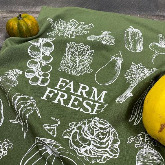FARM FRESH hand printed kitchen towel