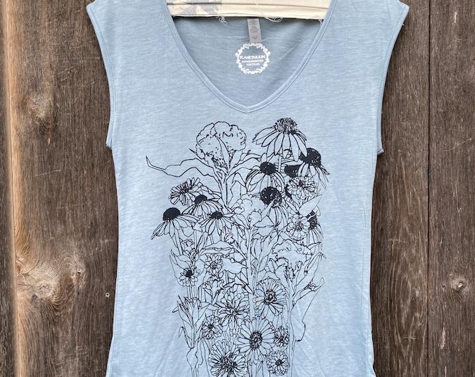 Zinnias tank top / botanical tank top /floral tank top /hand printed tank /v neck top/v neck shirt /tank top bloom