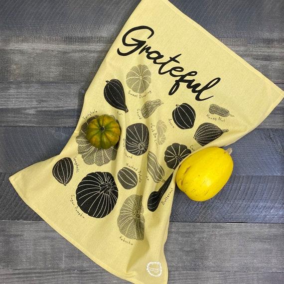 GRATEFUL hand printed kitchen towel