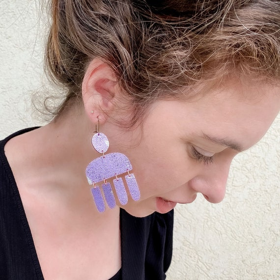 Wally Fabric Earrings, screen printed, super lightweight dangles