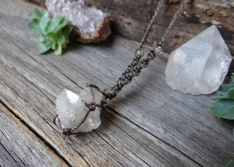 handmade gemstone jewellery CLOSING DOWN Spirit quartz brown macrame necklace with clear quartz healing crystals metaphysical sale