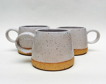 Made to Order : Set of 4 Speckled Coffee Mug with white glaze