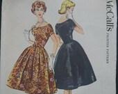 Mccalls 4736 size 10 b31 quot Audrey Hepburn style evening prom or wedding dress pattern with 4 gore skirt think satin taffeta shantung cotton