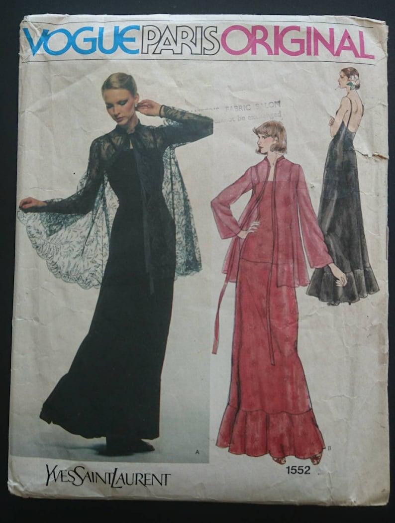 225d00e1c87 Yves Saint Laurent elegant 70s bust 32.5 dress & lace | Etsy