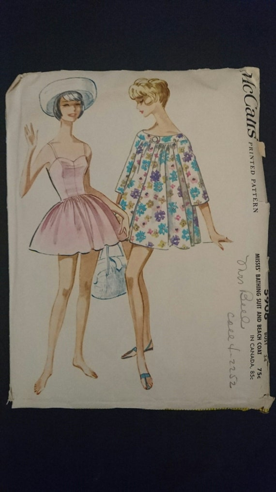 50s Lined Bathing Suit Mccall 5906 Includes And Cover Up B34 Etsy