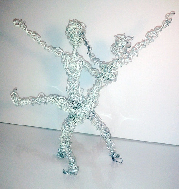 glow in the dark dancing wire people wire art metal aluminum | Etsy