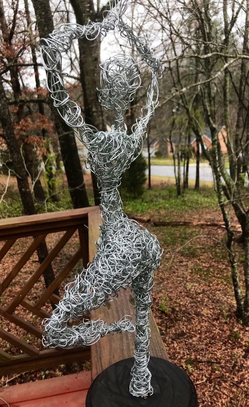 Vrksasana yoga pose wire art galvanized steel metal yogi namaste silver aluminum statue wire bending twisting