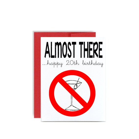 20th Happy Birthday Card Almost To Drinking Age Martini 20 Etsy