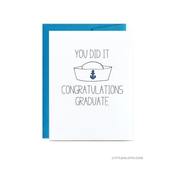 Navy Graduation Card You Did It Congratulations Graduation Etsy