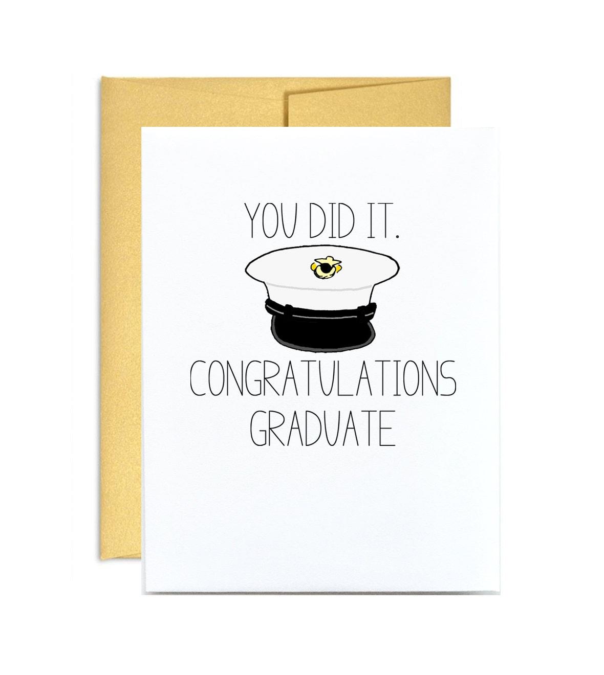 Marine Corps Graduation Card You Did It Congratulations Etsy