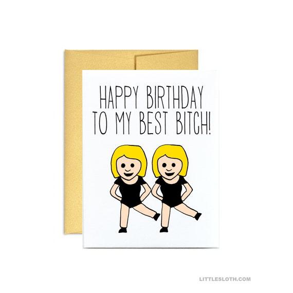 Scheda Di Compleanno Divertente Buon Compleanno Al Mio Miglior Cagna Bionda Ballo Emoji Ragazze Emoticon Miglior Amico Ragazza Compleanno Card