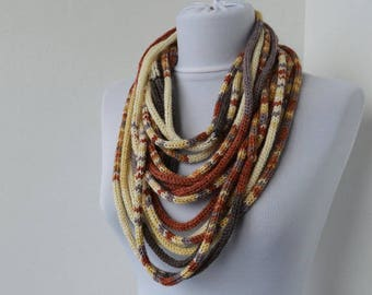 Knit Scarf Necklace, Multi strand necklace, Loop scarflette, Infinity scarf, Knitted scarflette, in mauve,beige,cream,brick,brown E106