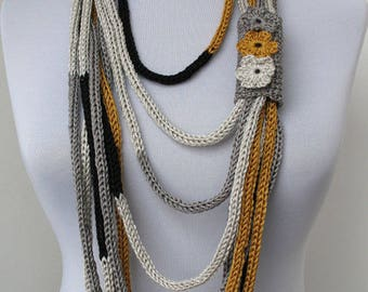 Knit Scarflette Necklace,Multi strand necklace,Infinity Hand Knitted scarflette,with crocheted flower brooch,in gold,silver,white,black E142