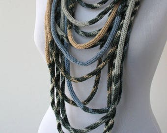 Knit Scarf Necklace, Multi strand necklace, Loop scarflette, Infinity scarf, Knitted scarflette, in white,blue,beige and gray  E163