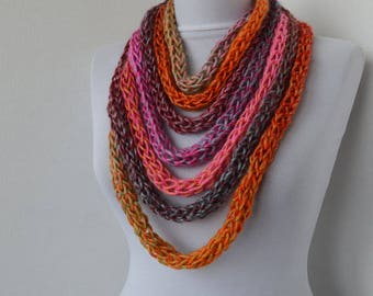 Knit Scarf Necklace, Multi strand necklace,Loop Infinity scarf,Hand Knitted scarflette, in orange,rose,pink,gray,blue... E220