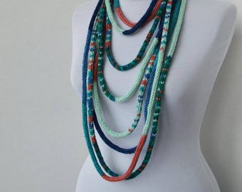 Knit Scarf Necklace, Multi strand necklace, Loop scarflette, Infinity scarf, Knitted scarflette,  in teal,mint,blue,brick