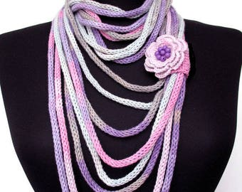 Knit Scarf Necklace,Multi strand necklace,Infinity Hand Knitted scarflette,with crocheted flower brooch, in gray, pink, white and lilac E012