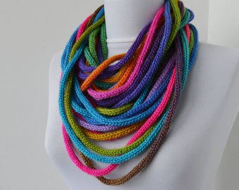 Knit Scarf Necklace, Loop scarf, Infinity scarf, Knitted scarflette, colorful E129