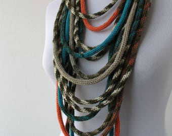 Knit Scarf Necklace, Multi strand necklace, Loop scarflette, Infinity scarf, Knitted scarflette, in ivory,orange,blue,taupe brown E026