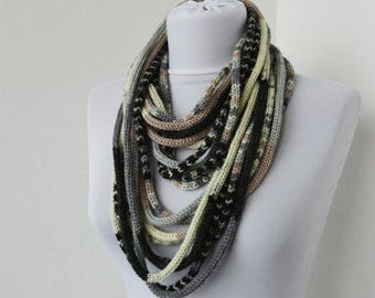 Knit Scarf Necklace, Multi strand necklace, Loop scarflette, Infinity scarf, Knitted scarflette, in ivory,gray,black,beige E112