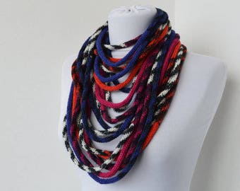 Knit Scarf Necklace, Multi strand necklace, Loop scarflette, Infinity scarf, Knitted scarflette, in white,blue,violet,burnt orange E148