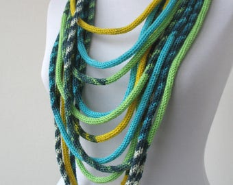 Knit Scarf Necklace, Loop scarf, Infinity scarf, Knitted scarflette, in blue,yellow,green,white,gray E146