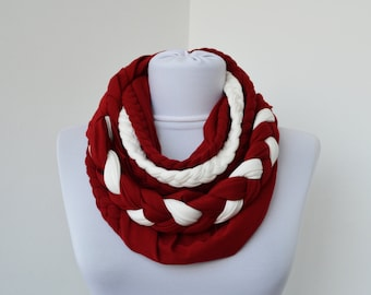 Red & White Loop Scarf - Infinity Jersey Scarf - Partially braided Circle Scarf - Scarf Nekclace