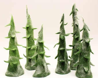 3 fir trees in different shades of green, felted firs, felt firs, Christmas, Christmas decorations