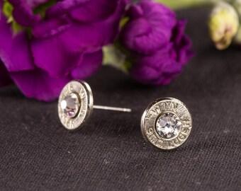 Bullet Casing Jewelry - 9mm Bullet Post Earrings / Bullet Stud Earrings
