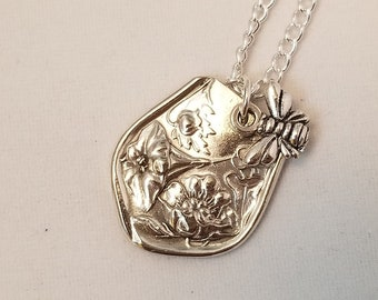 """Vintage Necklace, Upcycled Silver Necklace, Pendant with bee charm. Minimalist, Repurposed from Vintage Silverware, 24"""" necklace,  NM113"""