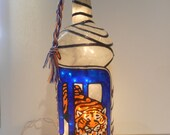 Detroit Tigers Inspired Wine Bottle Lamp Handpainted Stained Glass look