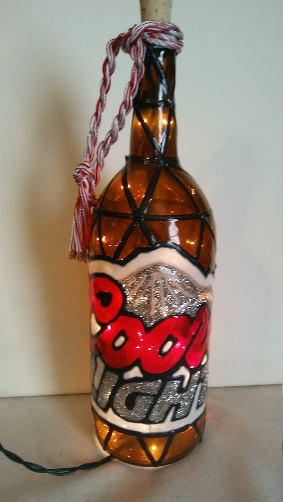 Coors Light Inspired Lighted Handpainted Wine