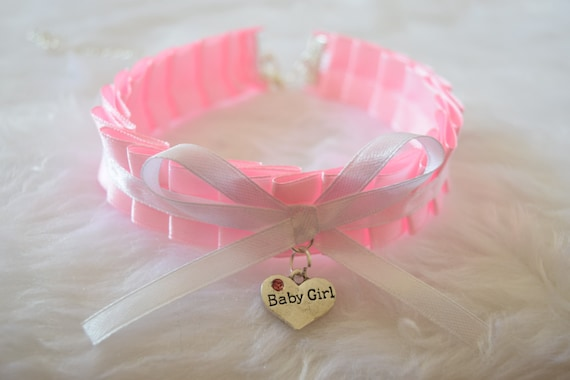 Daddy/'s Little Girl Engraved Personalised Heart Charm Pink Black BDSM Collar Cosplay Choker Necklace Slave Sub Age Play Ddlg ABDL Princess