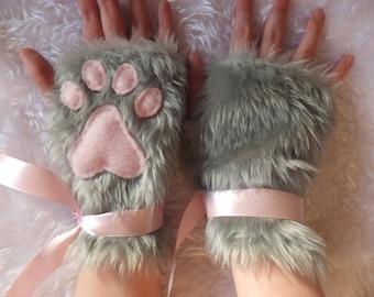 Cute Grey Furry Cat Kitty Fox Neko Pink Paw Print Fingerless Gloves Wrist Warmers Halloween Costume Christmas