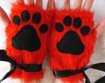 Cute Red Furry Wolf Fox Dog Neko Cat Black Paw Print Fingerless Gloves Wrist Warmers Halloween Costume Cosplay Festival Fursuit Christmas