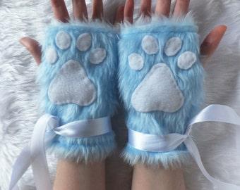 Cute Blue Furry Cat Wolf Bear Kitten Paw Fingerless Gloves Wrist Warmers Halloween Costume Festival Fursuit