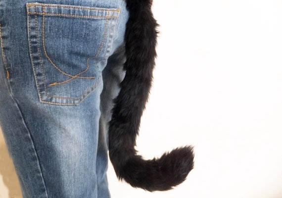 Black Red Tip Cosplay Furry Cat Tail Wired or Unwired Neko Costume Wired Halloween Dress-up