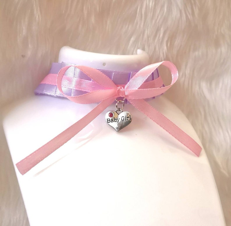 Baby Girl Heart Lilac Pink Ruffled Ribbon Choker Ddlg BDSM Collar Necklace  Lolita Age Play Kinky Submissive Fetish Princess Daddy Sub ABDL