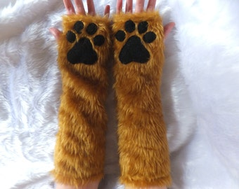 Brown / Colour Choice Elbow Length Furry Faux Fur Cat Wolf Fox Bear Cat Paw Gloves Fingerless Long Arm Warmers Winter Christmas Halloween