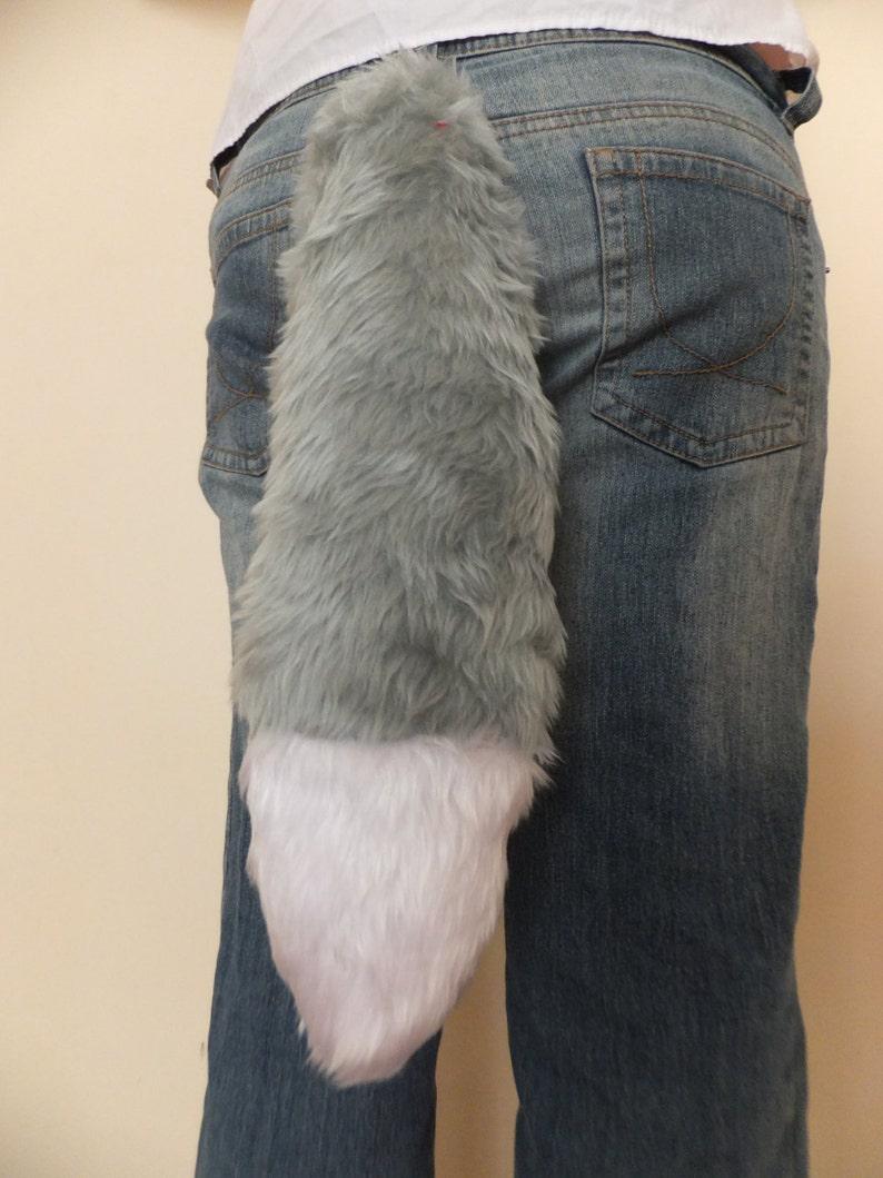 Grey White Tip Cosplay Furry Wolf Tail Fox Husky Dog Kitsune Kawaii Costume Wired Halloween Christmas Dress-up