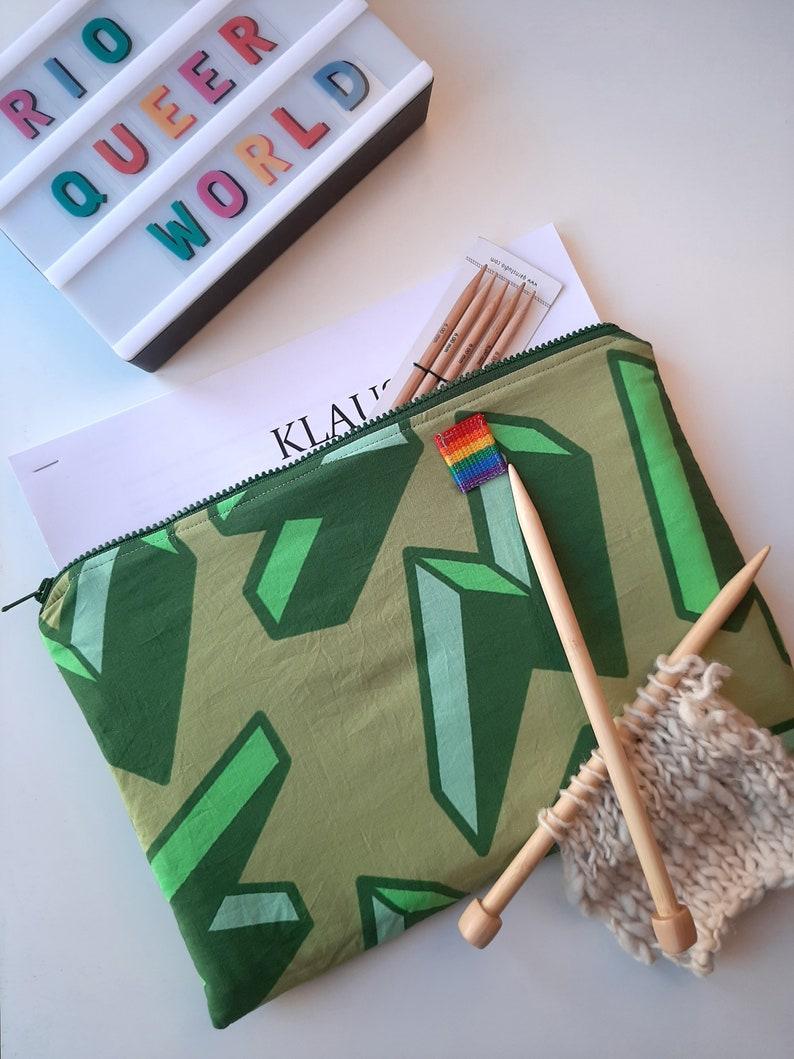 Made with lightining printed fabric A4 document holder with quilted lining Green pattern holder