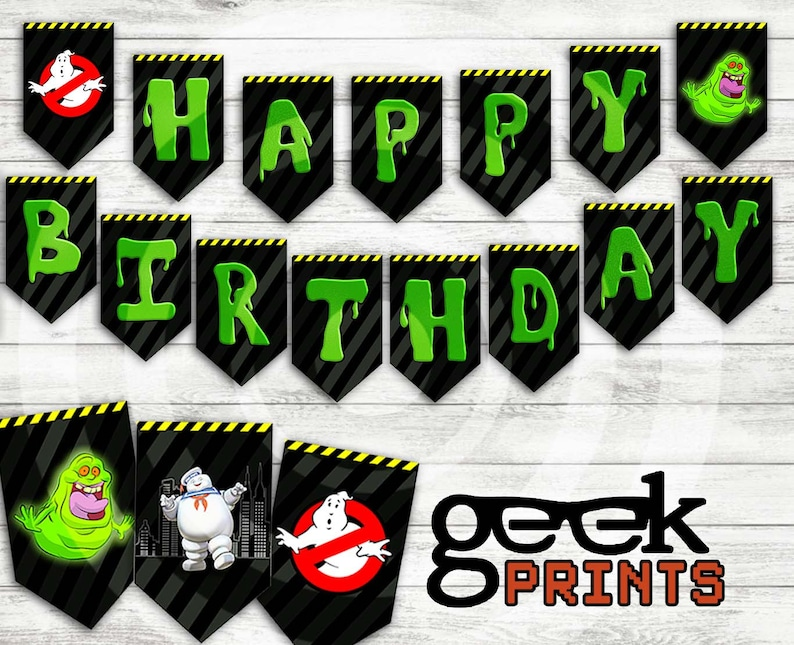 photograph regarding Ghostbusters Printable named Satisfied Birthday Banner with Ghostbusters Topic Printable Down load