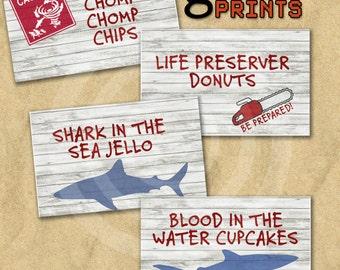 Sharknado & Jaws Tent Menu Cards with Editable Text Printable Download