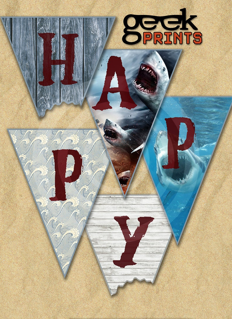 Shark Week Sharknado Jaws Themed Happy Birthday Banner image 0