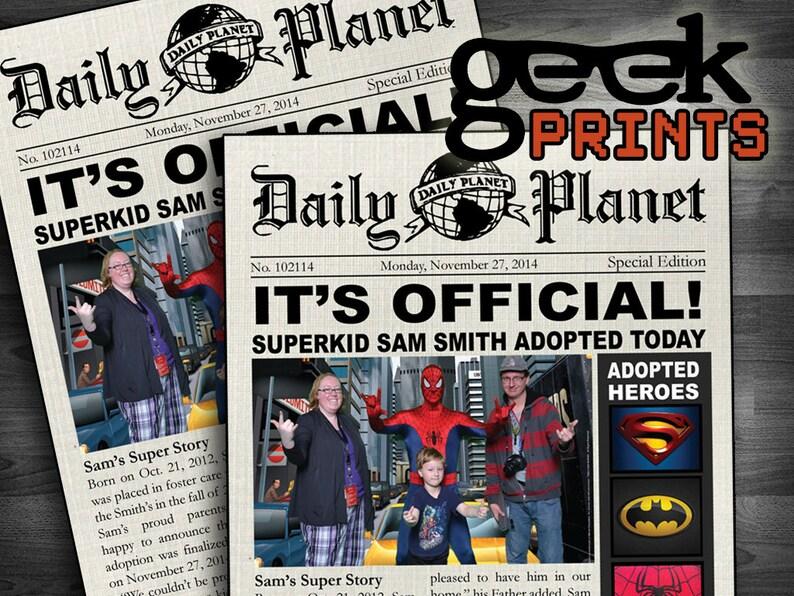 Adopted Super Hero Newspaper Printable Invitation